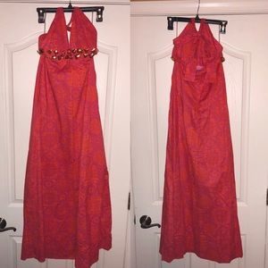 NWT orange & pink halter maxi dress